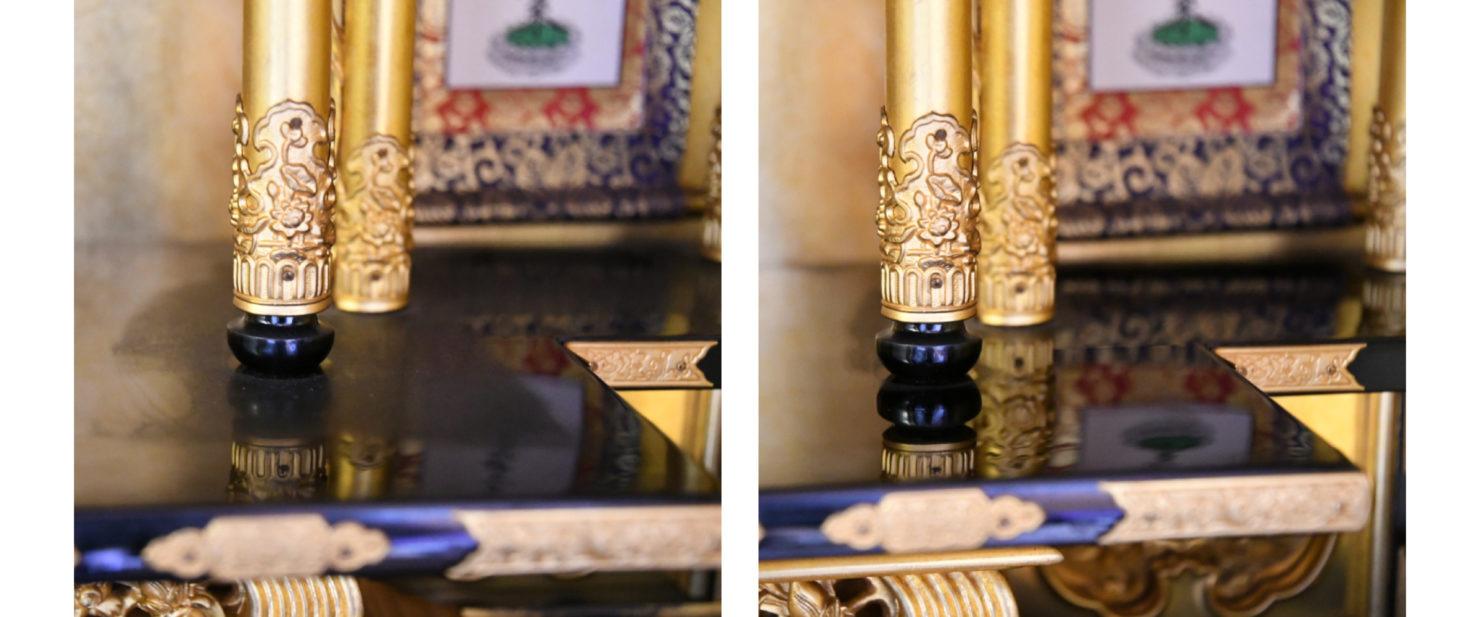 お仏壇の中 拭き掃除前と後